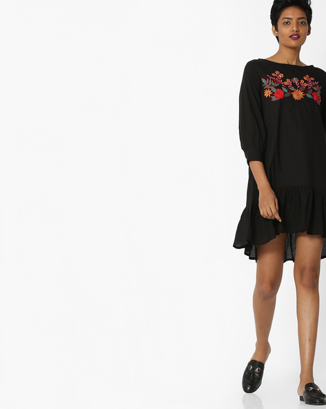 Embroidered Shift Dress With Flounce Hem By Rena Love ( Black )