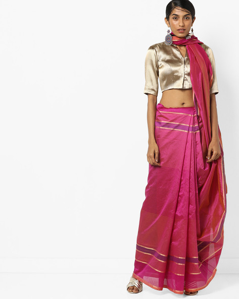 Top Dyed Saree With Contrast Border By Florence ( Pink ) - 460174944001