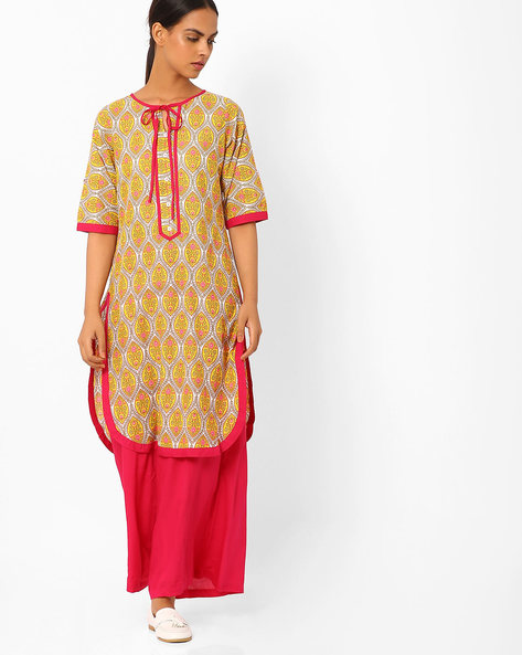 Printed Kurta With Palazzo Pants By AYAANY ( Mustard )