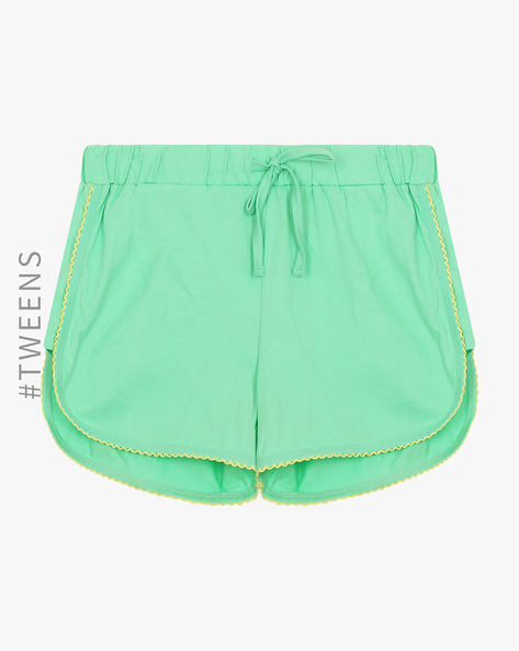 Cotton Lounge Shorts With Drawstring Waist By AJIO Girl ( Green )