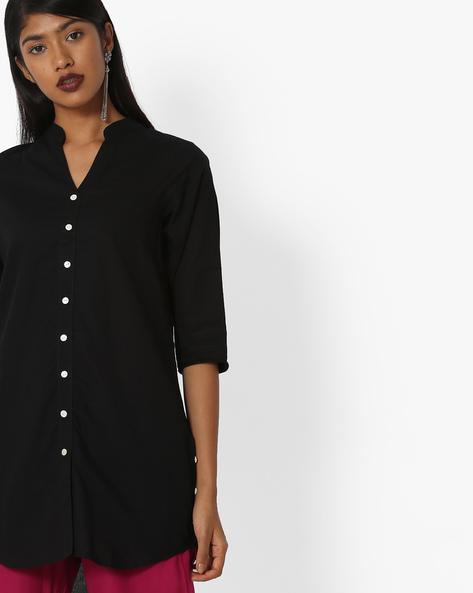 Straight Kurti With Mandarin Collar By KIRA ( Black )
