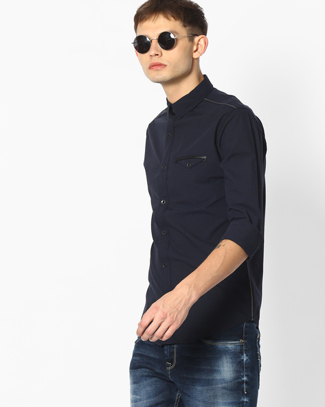 Slim Fit Shirt With Flap Pockets By MUFTI ( Navy )