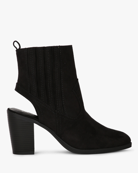 Chunky-Heeled Boots With Cutouts By Truffle Collection ( Black )
