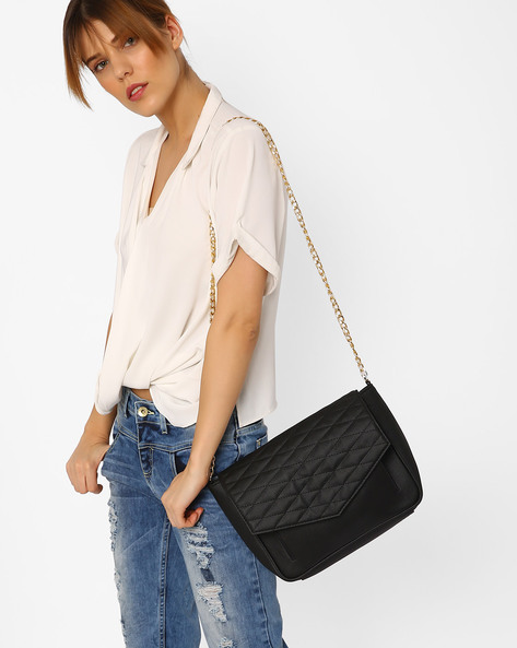 Sling Bag With Quilt Stitched Flap By AJIO ( Black )