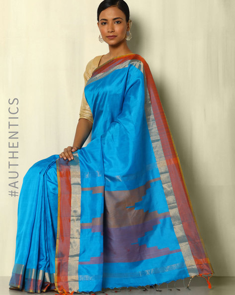 Handloom Arani Striped Pure Silk Saree By Pretty Woman ( Blue )