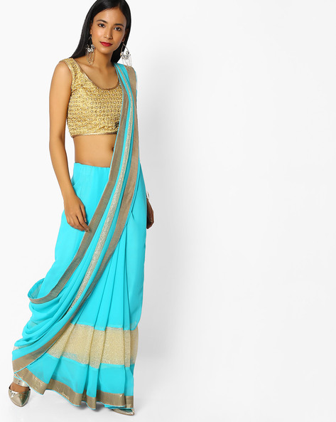 Georgette Saree With Contrast Panelling By Majestic Silk ( Blue )