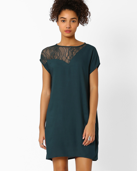Shift Dress With Lace By Vero Moda ( Blue )