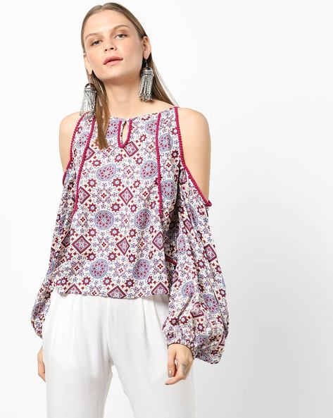 Printed Top With Cold Shoulders By Miway ( Purple )