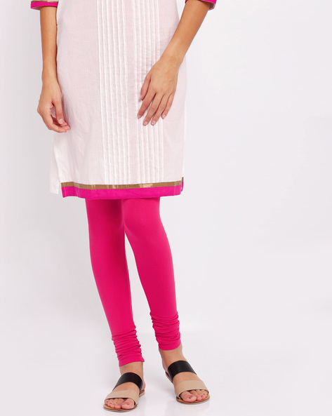 Stretch Churidar Leggings By Go Colors ( Red )