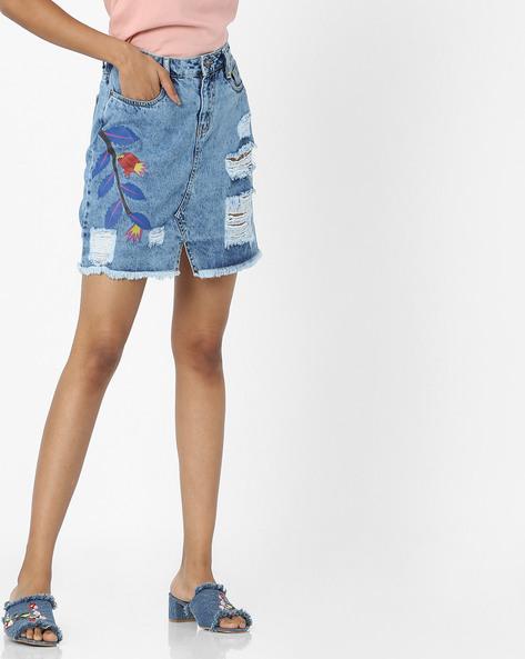 Acid-Washed Distressed Denim Skirt By AJIO ( Blue )