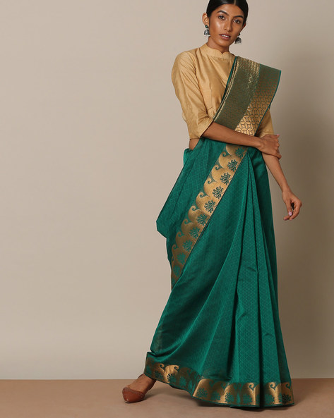 Pure Cotton Mercerised Saree With Brocade Pallu By Indie Picks ( Green )