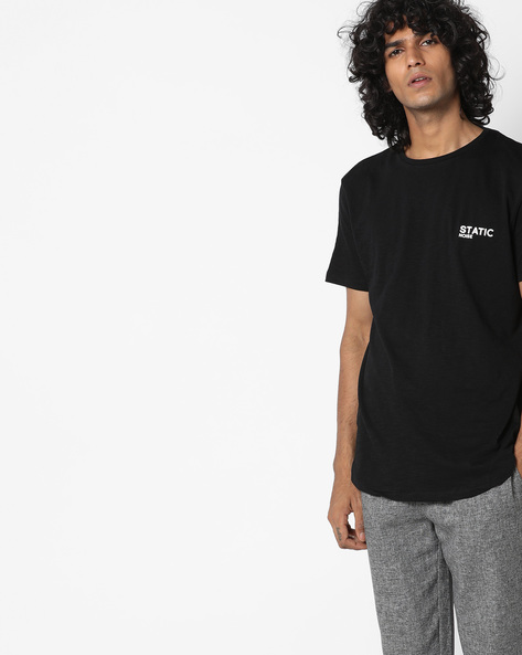 Crew-Neck T-shirt With Side Zippers By AJIO ( Black )