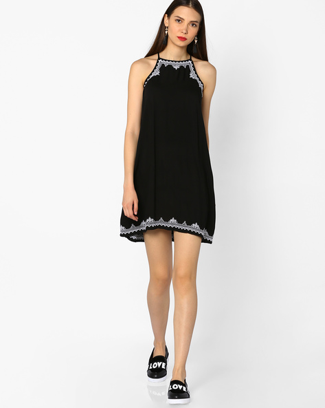 Strappy Shift Dress With Embroidery By And ( Black )