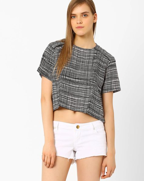 Printed Panelled Top By CHM ( White )