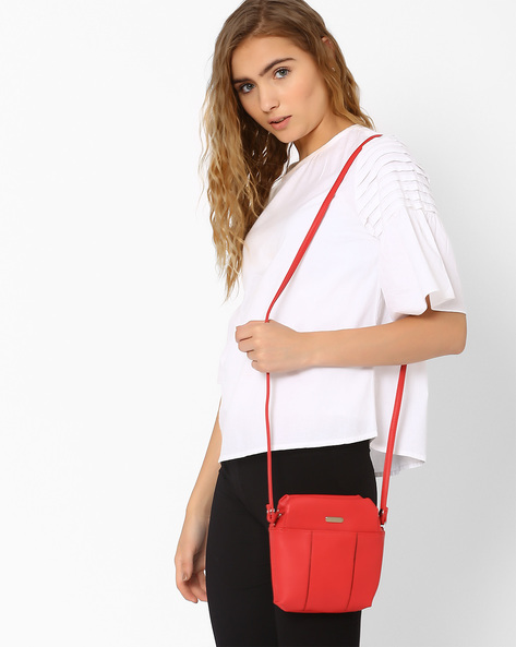 Sling Bag With Inked Edges By Lavie ( Coral )