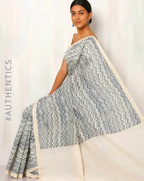 Printed Cotton Silk Saree With Ghicha Pallu By Rudrakaashe-MSU ( Multi ) - 460011251001
