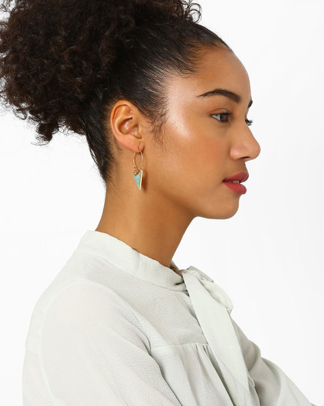 Textured Acrylic Hoop Earrings By AJIO ( Gold )