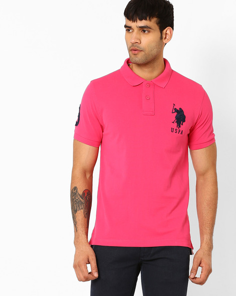 Polo T-shirt With Ribbed Hems By US POLO ( Pink )