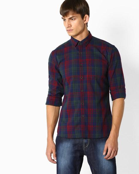 Tartan Plaid Check Shirt By NETPLAY ( Navy )