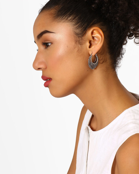Hoop Earrings With Lever-Back Closure By Fida ( Silver )
