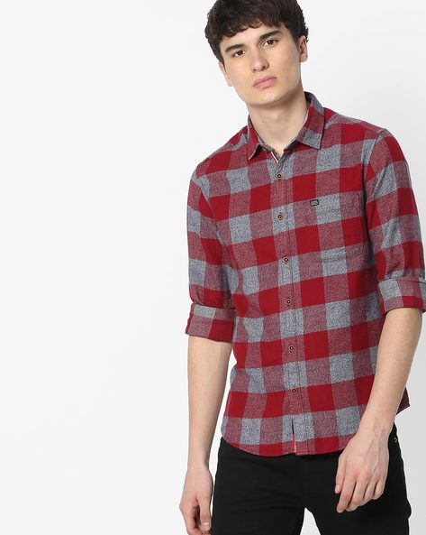 Slim Fit Checked Shirt With Patch Pocket By The Indian Garage Co ( Red ) - 460191603007
