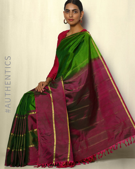 Handloom Arani Skirt Stripes Pure Silk Saree By Pretty Woman ( Green )