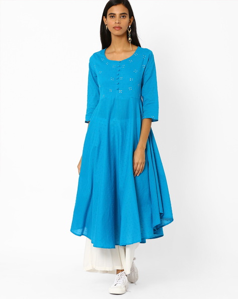 Flared Cotton Kurta By Rangmanch By Pantaloons ( Turquoise )