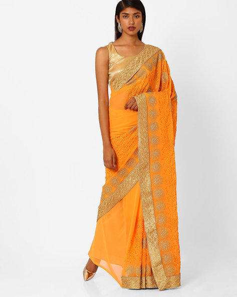 Embroidered Saree With Contrast Lace Border By Amori ( Orange )
