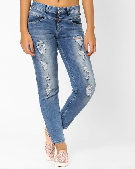 Lightly Washed Distressed Jeans By AJIO ( Lightblue )