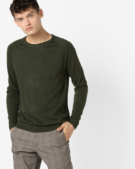 Crew-Neck Pullover With Raglan Sleeves By Jack & Jones ( Brown )