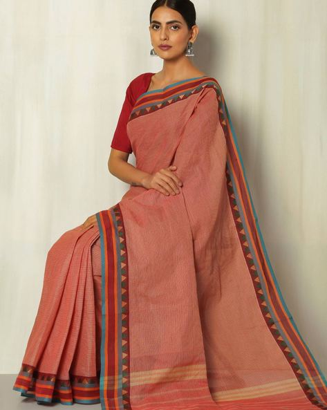Checked Kanchi Cotton Saree With Woven Border By Indie Picks ( Red )