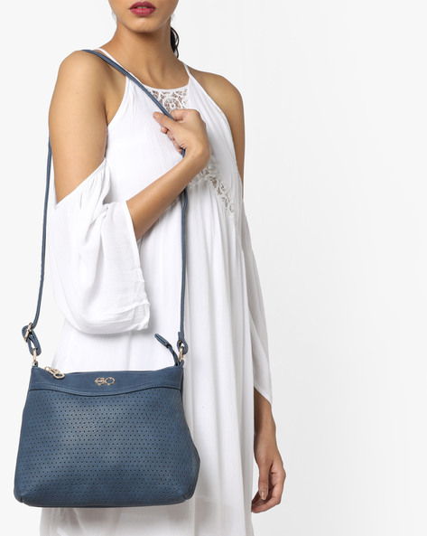 Sling Bag With Laser-Cut Perforations By E2O ( Navy )