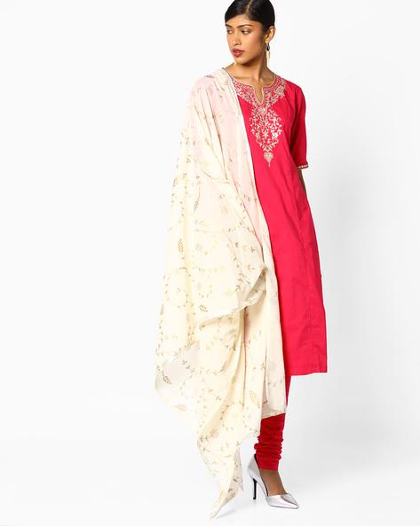 Embroidered Kurta Suit Set By Biba ( Pink )