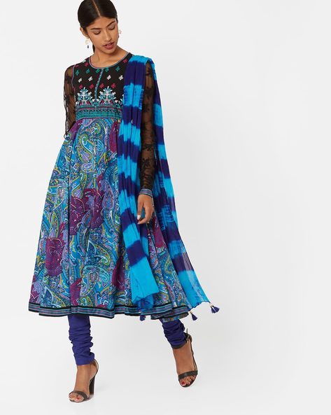 Printed Churidar Kurta With Dupatta By Rain & Rainbow ( Blue )