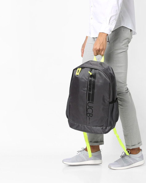 Printed Laptop Backpack With Adjustable Straps By UNITED COLORS OF BENETTON ( Grey )
