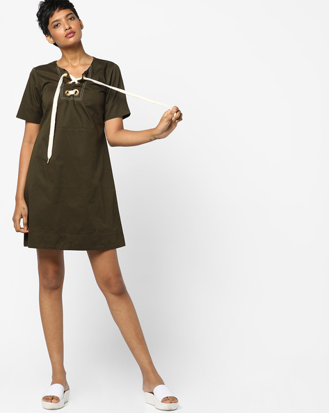 A-Line Dress With Tie-Up By AJIO ( Olive )