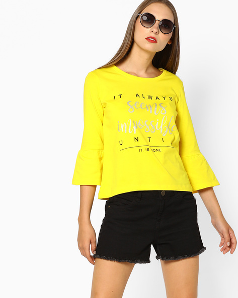 Typographic Print T-shirt With Bell Sleeves By AJIO ( Yellow )