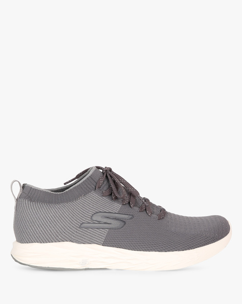 Go Run Lace-Up Sports Shoes By Skechers ( Charcoal )