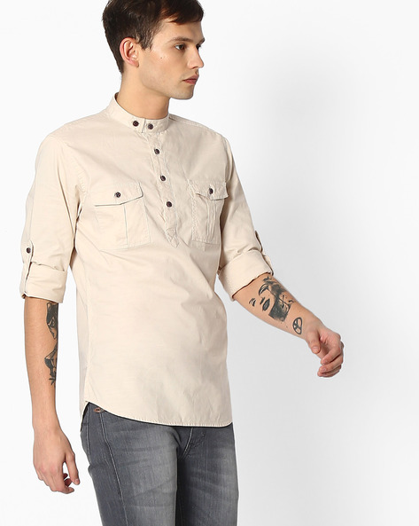 Slim Fit Cotton Shirt By The Indian Garage Co ( Beige )