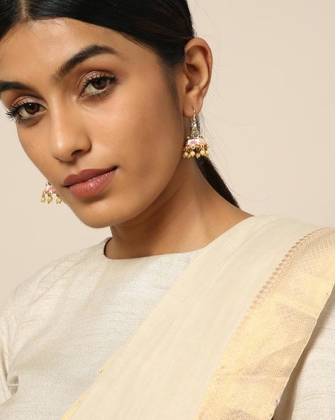 Meenakari Pearl Drops Stone Earrings By Spargz ( Multi ) - 460146243001