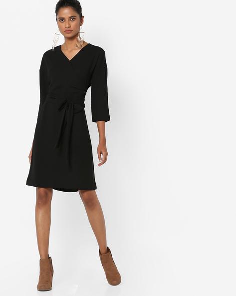 A-line Dress With Tie-Up By AJIO ( Black )