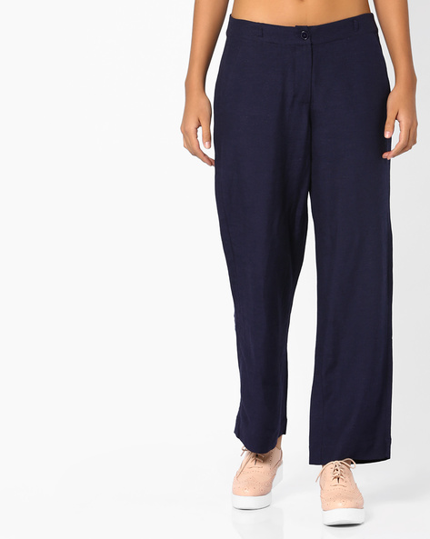 Mid-Rise Linen Trousers By CODE By Lifestyle ( Navy )