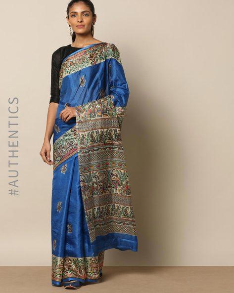 Madhubani Print Pure Silk Saree By Rudrakaashe-MSU ( Blue )