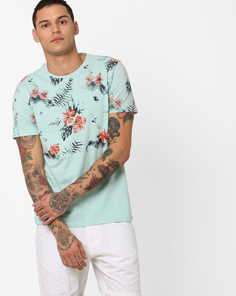 Floral Print Crew-Neck T-shirt By AJIO ( Ice )