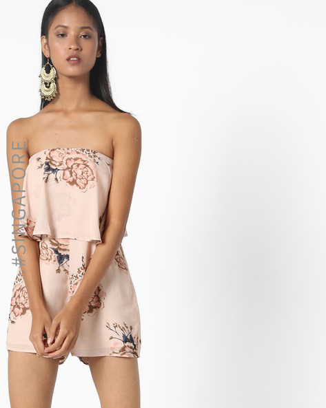 Floral Print Tube Playsuit By MDS ( Blush )