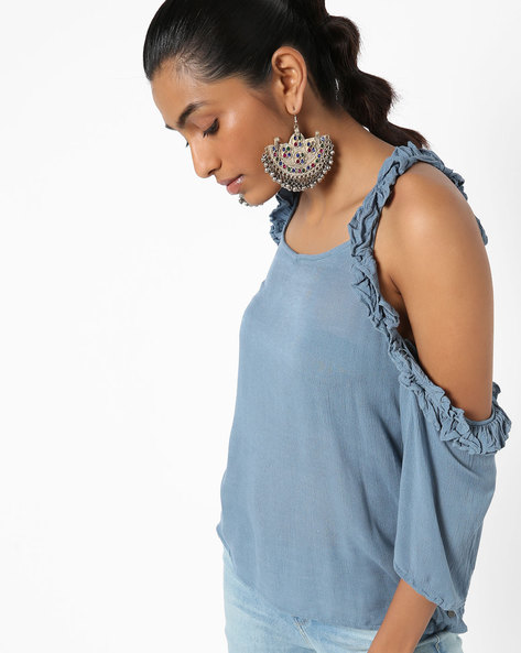 Cold-Shoulder Top With Ruffles By Only ( Blue )