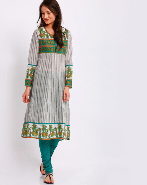Printed Anarkali Churidar Kurta With Dupatta By AVAASA SET ( Green )
