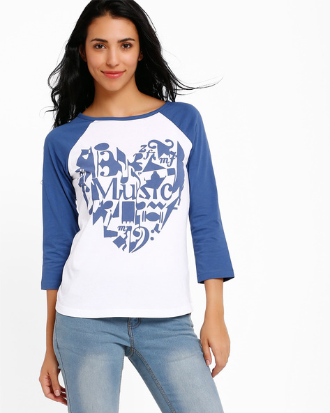 Graphic Print T-shirt With Raglan Sleeve By Style Quotient By Noi ( Blue )