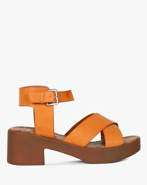 Strappy Chunky-Heeled Sandals With Ankle Strap By AJIO ( Brown )