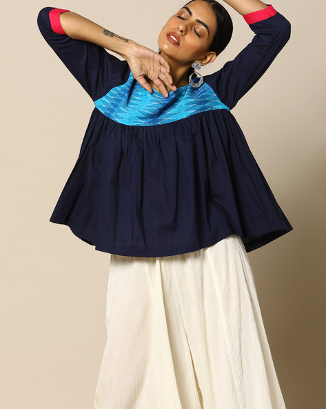 Handloom Cotton Top With Ikat Yoke By Free Living ( Blue )